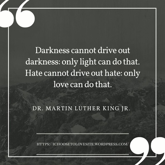 Darkness cannot drive out darkness- only light can do that. Hate cannot drive out hate- only love can do that. (1)